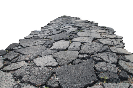 earthquake crack: asphalt road with cracks, isolated on white background.