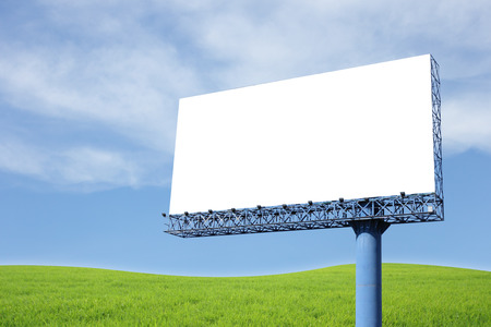 Blank billboard on blue sky photo