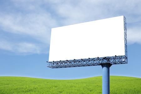 Blank billboard on blue sky photo