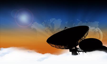 radio telescope: Silhouette of a radio telescope on background digital