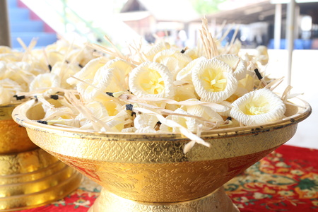 Artificial flowers used during a funeral