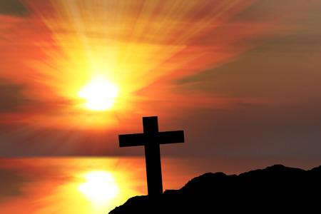 Silhouette of crosses Stock Photo