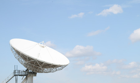 satellite dish antennas with blue sky Stock Photo