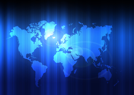 Modern blue world map background Stock Photo