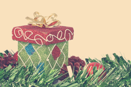 Christmas gift box & red christmas ball Stock Photo