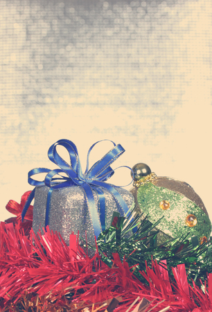 christmas ball and gift box -Stock Image