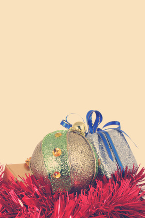 christmas ball and gift box -Stock Image