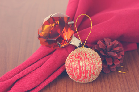 Christmas decorations with topaz ring. Stock Photo
