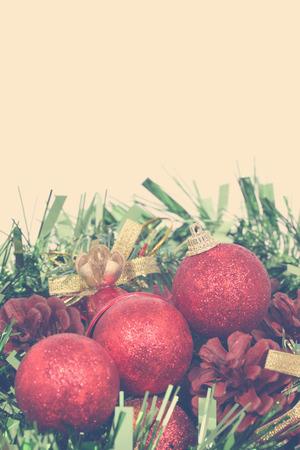 Closeup of Red Christmas balls on white background Standard-Bild