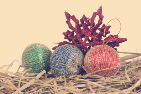 Closeup of  Red Christmas balls on white background Stock Photo