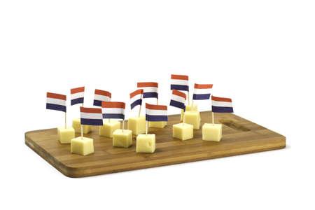 tabla de quesos: trozos de queso con banderas