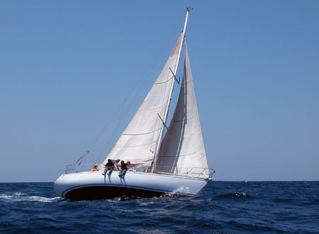sailing with strong wind Stock Photo