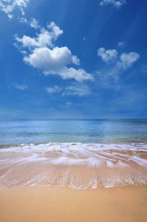 sand beach and blue sky with clouds Stock Photo - 6945266