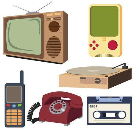Vintage Retro Electronic Set Object (Analog Television, Rotary Dial Telephone, Old Game Console, Compact Cassette Tape, Old Cell Phone, Vintage Record Player) Vector