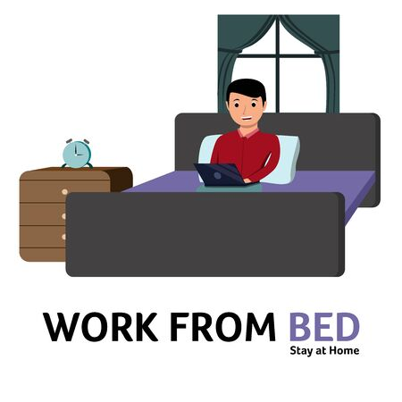 Work From Home, a Man Sitting on Bed and Work with Laptop, Meeting Online Concept Character Illustration Vector