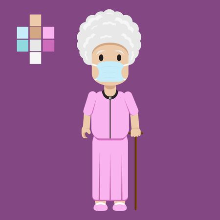 Grandmother wearing surgical mask to protect herself from Covid-19 Virus in Character Illustration Vector
