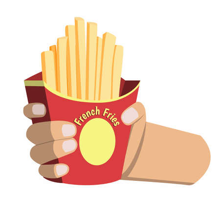 Hand Holding French Fries. Potato Snack Fast Food Menu Symbol Object in Illustration Vector