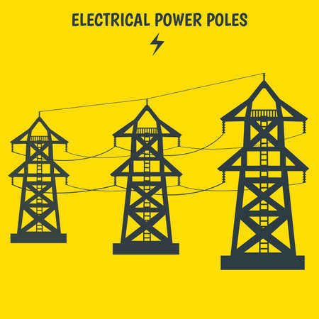 Electrical Power Pole Transmission Tower in Cartoon Flat Design Vector Illustration in EPS File