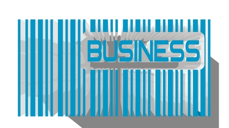 bisiness: blue barcode and bisiness word within Stock Photo
