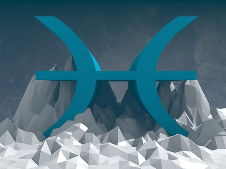 the art of divination: sign on low poly landscape Stock Photo