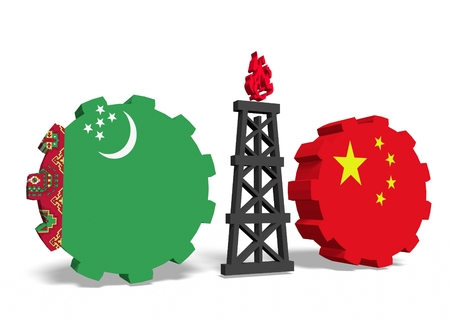 mine data: image relative to gas transit from turkmenistan to china Stock Photo