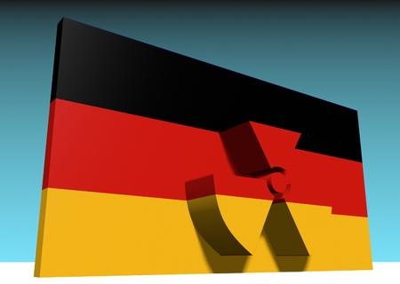 caution chemistry: atom energy symbol and germany national flag