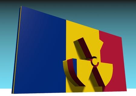 chernobyl: atom energy symbol and romania national flag