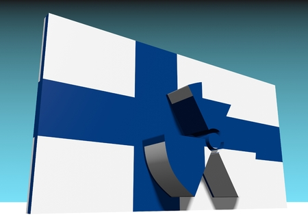 caution chemistry: atom energy symbol and finland national flag
