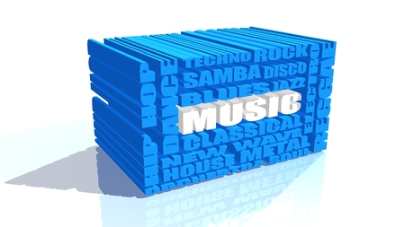 genres: main music genres clouds list Stock Photo