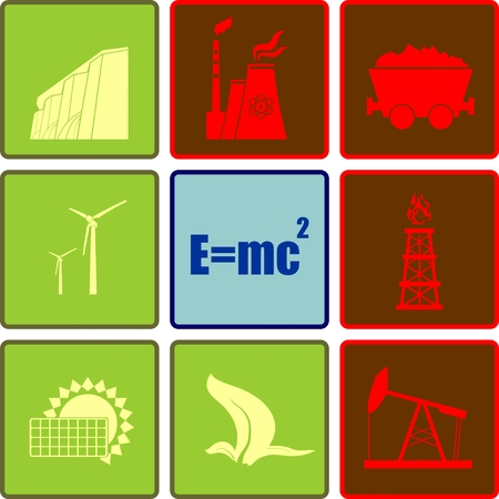 oil and gas: Vector icon collection of sustainable energy generation Illustration