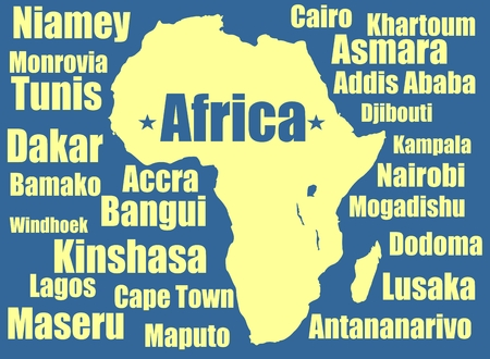 dakar: African capitals around outline yellow map on blue