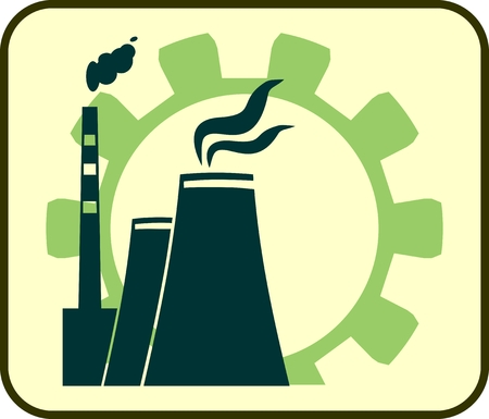 thermal power plant: gear and atomic power station icon