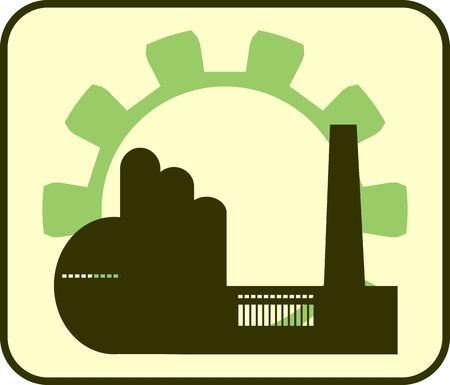 hazardous work: factory and gear silhouettes icon Illustration
