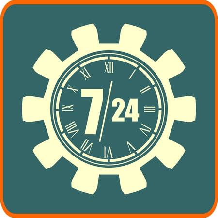 24 hr: time operation mode in gears icon