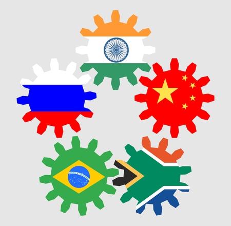economies: association of five major emerging national economies members flags on zip gears Illustration
