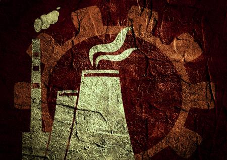 uranium: atomic power station silhouette icon