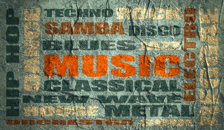 genres: main music genres clouds list on grunge backdrop