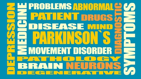 necrosis: parkinsons syndrome disease tags cloud Illustration