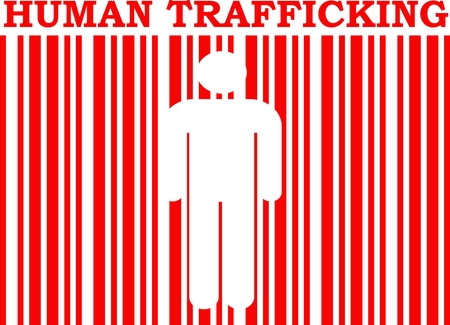 red barcode with human silhouette and human trafficking text within Illustration