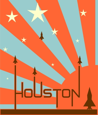 booster: space craft launch from houston word on sun rise and stars backdrop Illustration