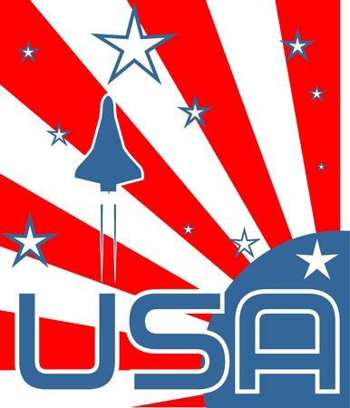 mosca caricatura: espacio artesanal lanzamiento el sol subida y las estrellas tel�n de fondo con texto de EE.UU.