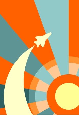 sun rise: space craft launch on sun rise backdrop