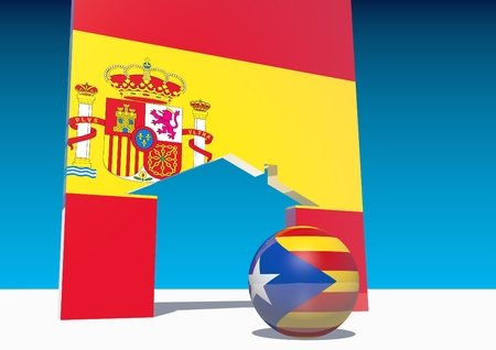 area of conflict: Catalonia exit from from Spain metaphor. Spain geopolitic. Catalonia Estelada and Spain flags on sphere and home icon Stock Photo