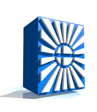 national holiday: 3d shape from finland national flag elements. Image for Independence Day celebration. 6 december finland national holiday