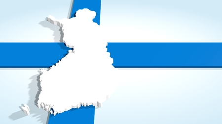 lakeland: finland 3d map and national flag collage Stock Photo