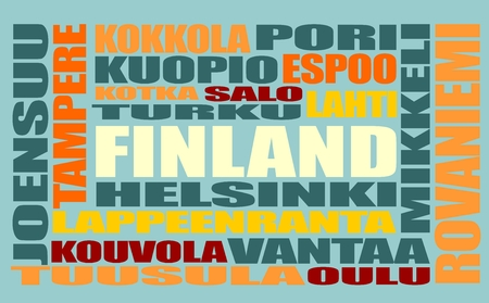 lapland: Finland cities list in words cloud. Multi color words on blue background. Illustration