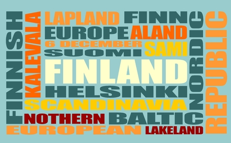multi colour: Finland theme relative words cloud. Multi color tags on blue background.