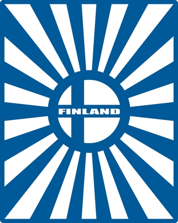 lapland: Finland national flag on sunburst background. Celebration card template for independence day. Blue and white Illustration