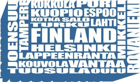 lapland: Finland cities list in words cloud. white color words on blue background. Long shadow