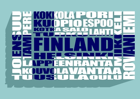 lapland: Finland cities list in words cloud. white color words on blue background. Long shadow. Blue cross on text